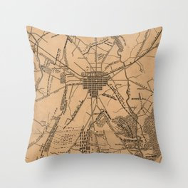 Vintage Map of The Gettysburg Battlefield (1863) 4 Throw Pillow