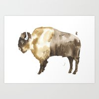 bison Art Prints featuring Bison by THE AESTATE
