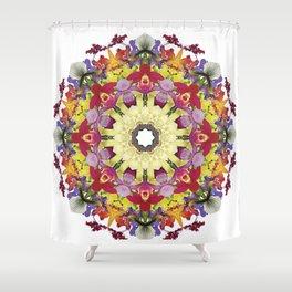 Abundantly colorful orchid mandala 1 Shower Curtain