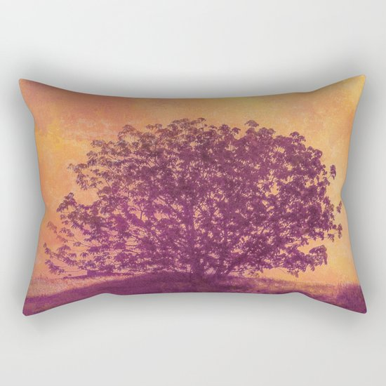 Red Violet Lone Tree and Fall Sunlight Rectangular Pillow