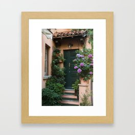 Green Door with Hydrangeas, Bellagio Framed Art Print