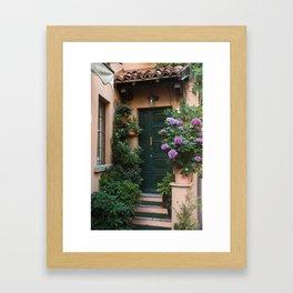 Green Door with Hydrangeas, Bellagio Framed Art Print