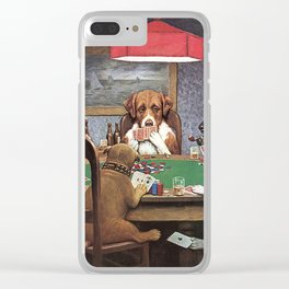 Dogs Playing Poker Clear iPhone Case