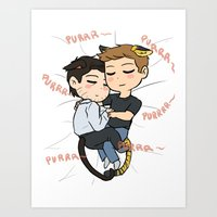 destiel Art Prints featuring Feline!Destiel by Tsuki-Nekota