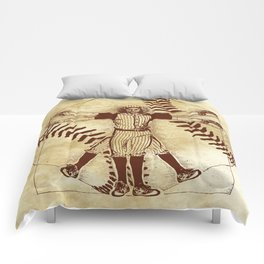 Vitruvian baseball player Comforters