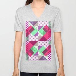 Geometric Polka Dots Petit Pois Neon Unisex V-Neck