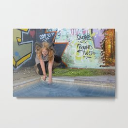 Faun Pool Side Metal Print