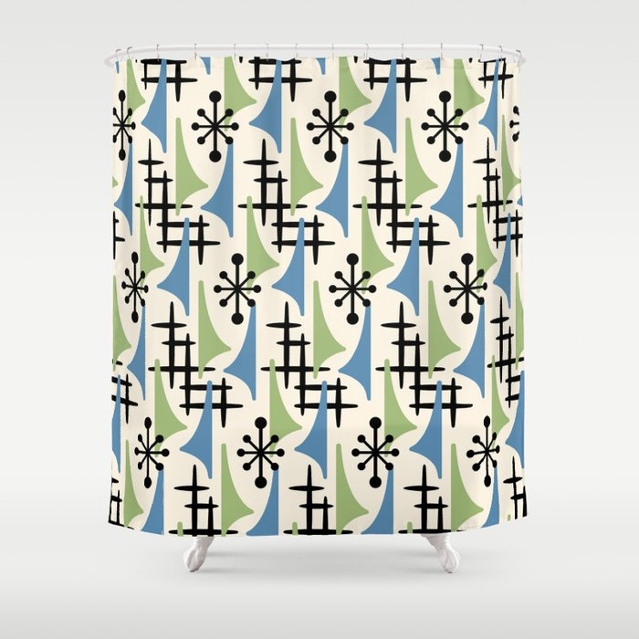 Mid Century Modern Atomic Wing Composition Blue Sage Shower Curtain