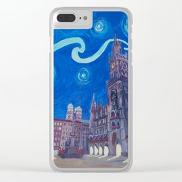 Starry Night In Munich - Van Gogh Inspirations with Church of Our Lady and City Hall Clear iPhone Case