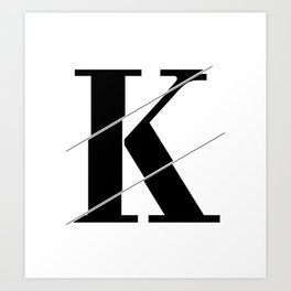 """Sliced Collection"" - Minimal Letter K Print Art Print"