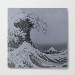 Silver Japanese Great Wave off Kanagawa by Hokusai Metal Print