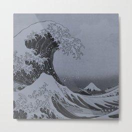 Silver Japanese Great Wave off Kanagawa by Hokusai Metal Print