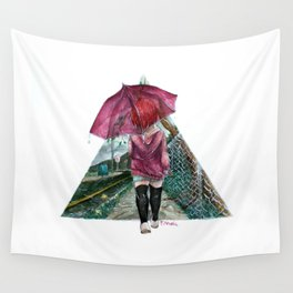 out in the rain Wall Tapestry