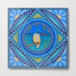 Kingfisher Mandala Metal Print