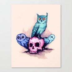 Skull & Owls Canvas Print