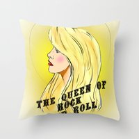 The Queen of Rock and Roll Throw Pillow