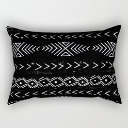 Mudcloth linocut design original black and white minimal inky texture pattern Rectangular Pillow
