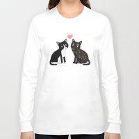custom Long Sleeve T-shirts featuring Custom Cats by Cassandra Berger
