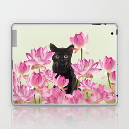 Lotus Flower Blossoms Black Cat Laptop & iPad Skin