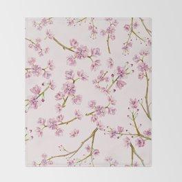 Spring Flowers - Pink Cherry Blossom Pattern Throw Blanket