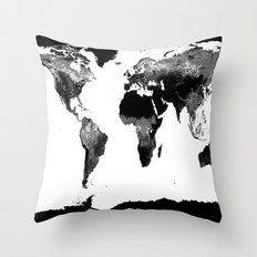 World Map  Black & White Throw Pillow