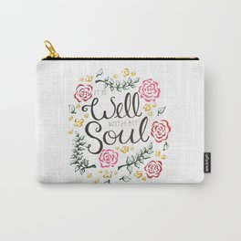It is Well Floral Script Carry-All Pouch