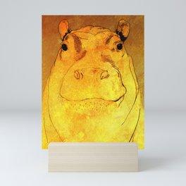 Golden Hippo Mini Art Print