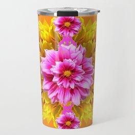 FUCHSIA PINK DAHLIAS & YELLOW SUNFLOWERS GARDEN ART Travel Mug