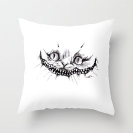 Cheshire Smile Inktober Drawing Throw Pillow