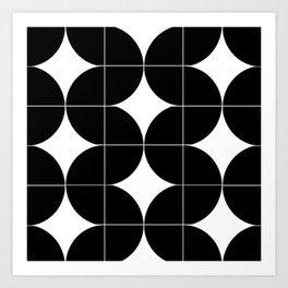 Modular Black and White Repeated Pattern Design Art Print