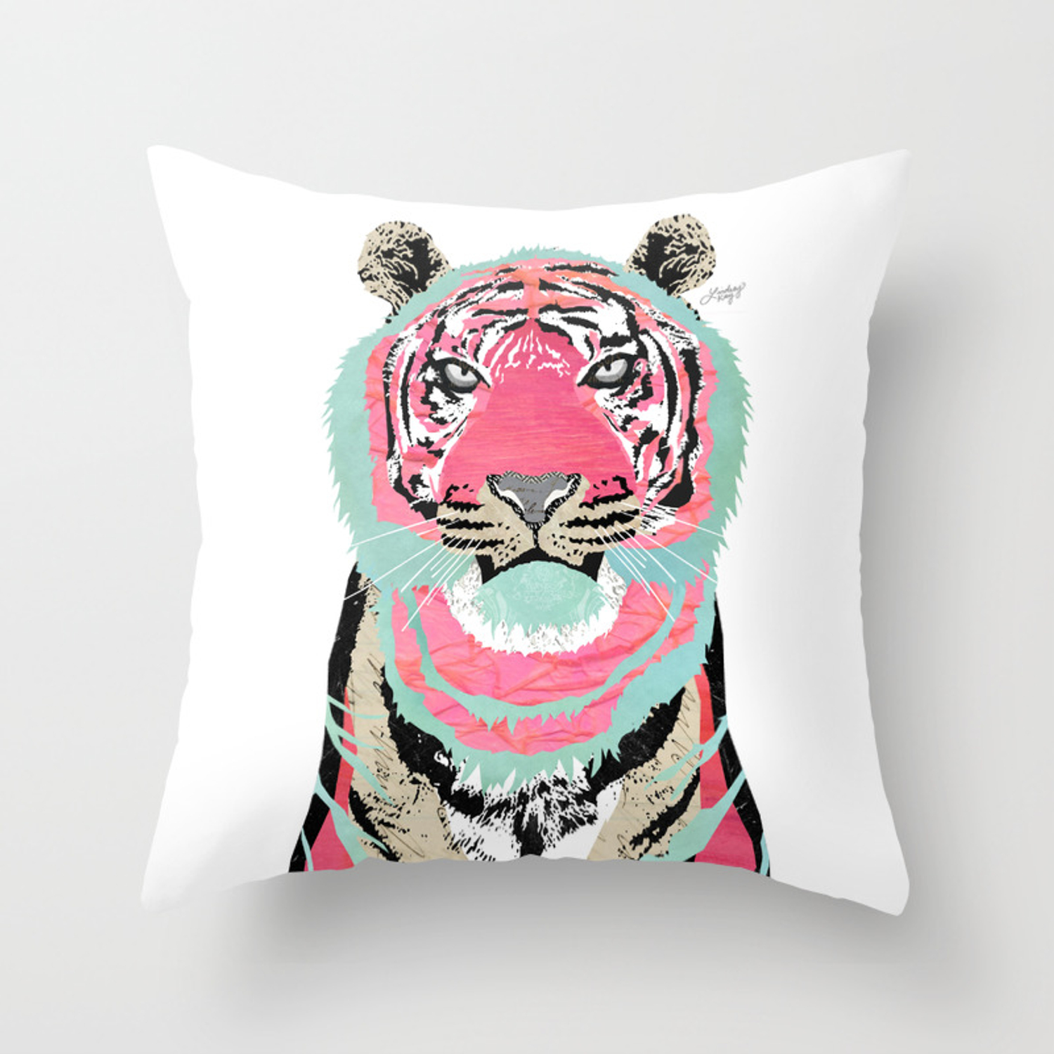 Pink Tiger Throw Pillow By Lindseykaynichols Society6