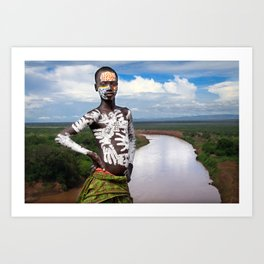 Karo kid in Omo valley, Ethiopia Art Print