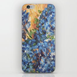 Blue Hydrangea Flowers 2, Blue Abstract, Modern Impressionism Painting iPhone Skin