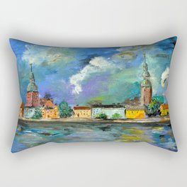 A Night of Color in Riga Rectangular Pillow