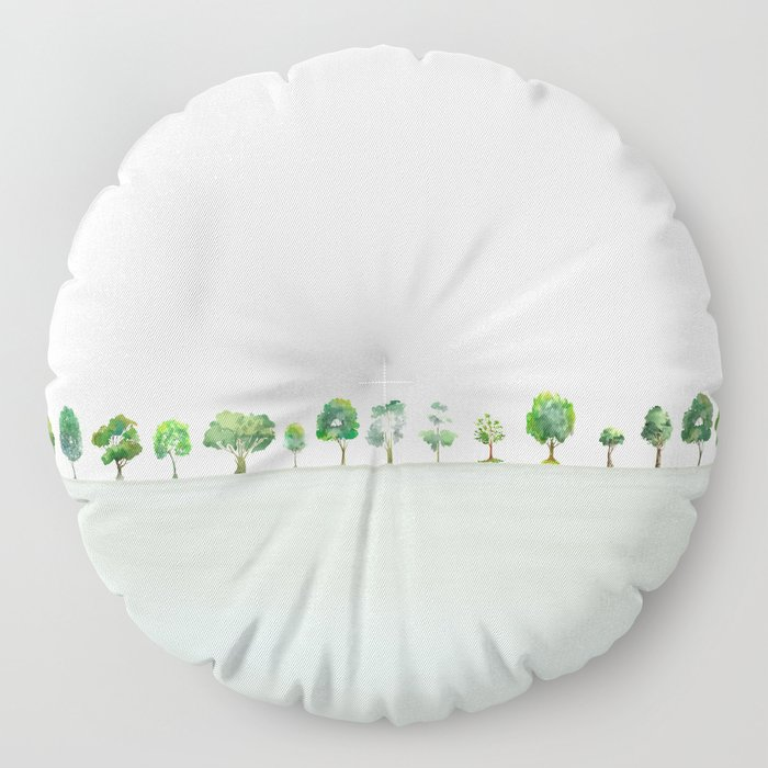 A Row Of Trees Floor Pillow
