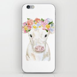 White Calf with Floral Crown iPhone Skin