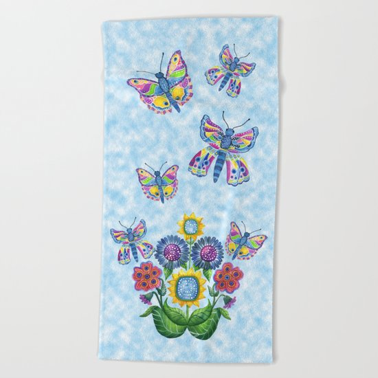 Butterfly Playground on a Summer Day Beach Towel