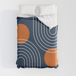 Mid Century Modern Geometric 83 in Navy Blue and Orange (Rainbow and Sun Abstraction) Duvet Cover