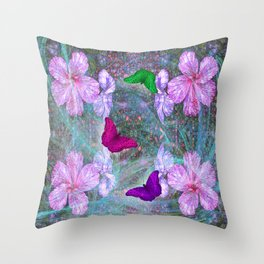 Fabulous pink hibiscus and vibrant butterflies Throw Pillow