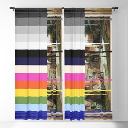 Garage Sale Painting of Peasants with Color Bars Blackout Curtain