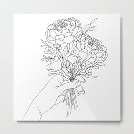 Small Market Bouquet | Modern Line Drawing in Black and White Metal Print