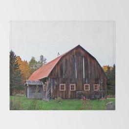 Orange Barn Throw Blanket