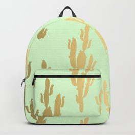 Cactus pattern gold green Backpack
