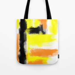 orange yellow and black painting abstract with white background Tote Bag