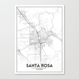Minimal City Maps - Map Of Santa Rosa, California, United States Canvas Print