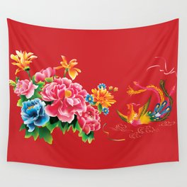 chinese peonies and phoenix Wall Tapestry