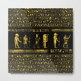 Golden Egyptian Gods and hieroglyphics on leather Metal Print