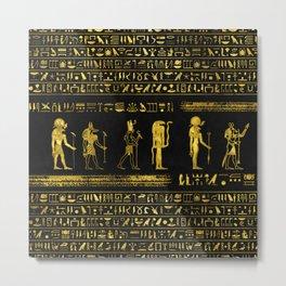 Golden Egyptian Gods and hieroglyphics on leather Metal Print