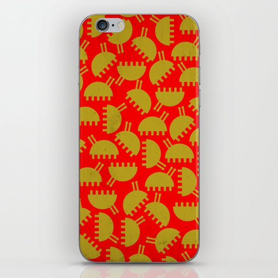 Happy green bugs on red. iPhone & iPod Skin