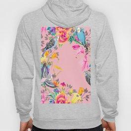 Stardust Pink Floral Birds Motif Hoody